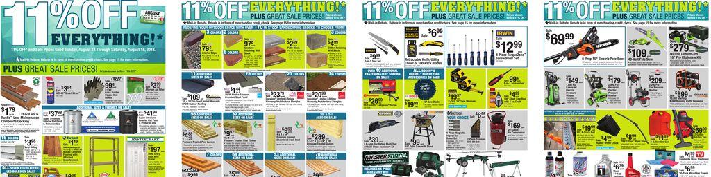 Menards 11% Rebate Sale - Aug 12 to Aug 18