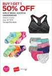 Girls' Bras, Socks & Underwear