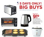 "Cooks 4-Slice Toaster Oven, 2-Slice Toaster, Stainless Steel Electric Kettle, 16-Cup Rice Cooker Or 10x19"" Nonstick Griddle"