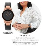 Citizen Eco-Drive Women's Black Leather Strap With Black Dial