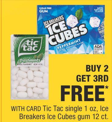 Tic Tac single 1 oz, Ice Breakers Ice Cubes gum 12 ct