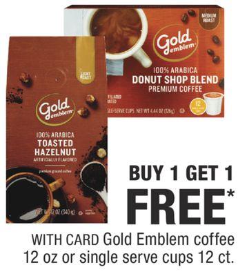 Gold Emblem coffee 12 oz or single serve cups 12 ct.