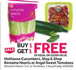 Hothouse Cucumbers Stop & Shop Romaine Hearts or Angel Sweet Tomatoes