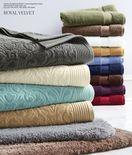 "Verona Sculpted & 30x54"" Luxury Egyptian Loops Bath Towels & Mylar Bath Rug"