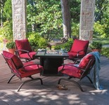 Outdoor Oasis Melbourne 5-Pc. Square-Tile Top Firepit Conversation Set
